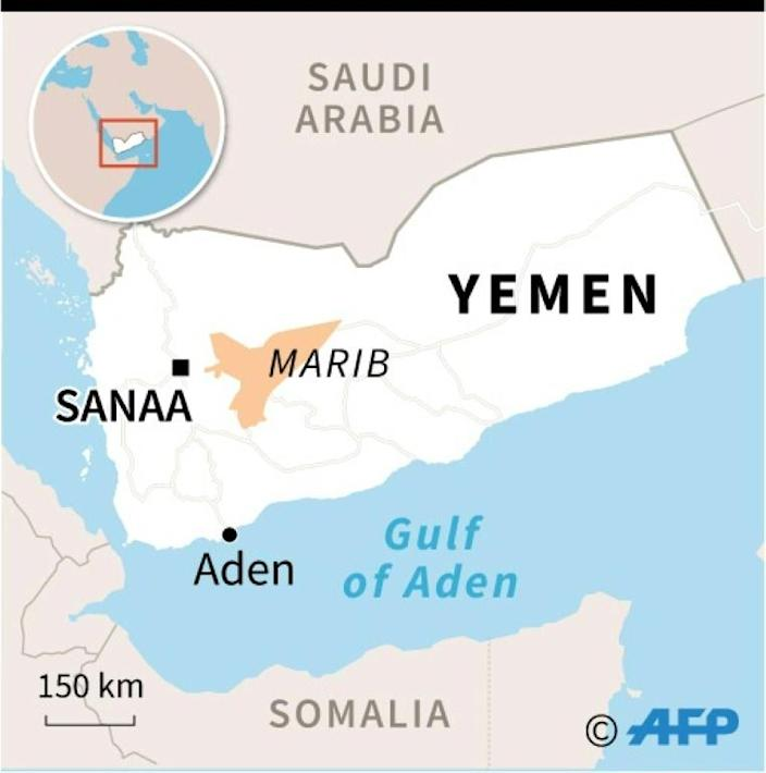 Map of Yemen locating Marib province (AFP Photo/)