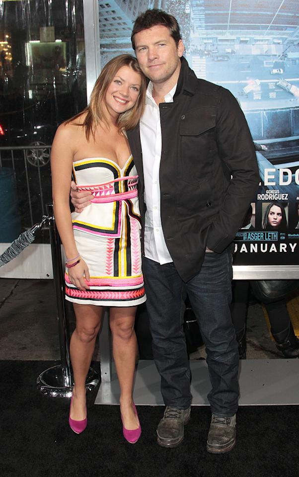 """Sam Worthington and Crystal Humphries at the Los Angeles premiere of """"<a href=""""http://movies.yahoo.com/movie/man-on-a-ledge/"""">Man on a Ledge</a>"""" on January 23, 2012."""