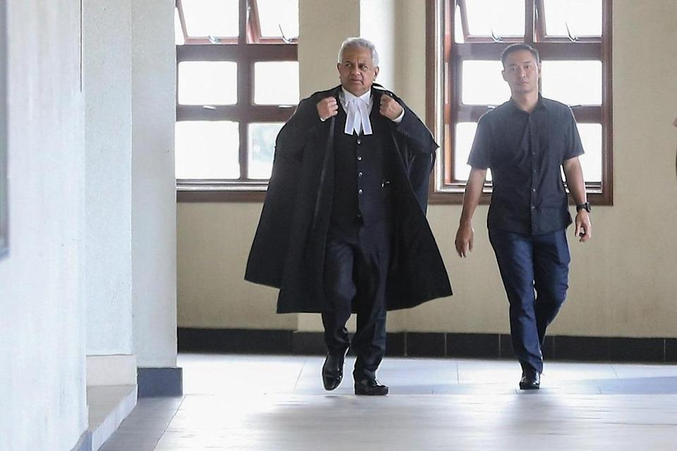 File picture of then Attorney General Tan Sri Tommy Thomas (centre) at the Kuala Lumpur Court Complex February 4, 2020. — Picture by Hari Anggara