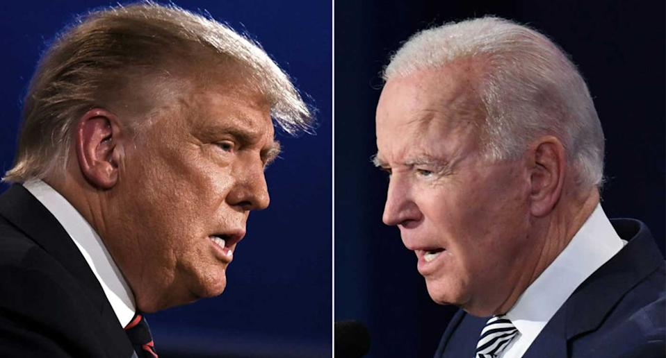 Pictures of Donald Trump and Joe Biden, who will face off on November 3. (Getty)
