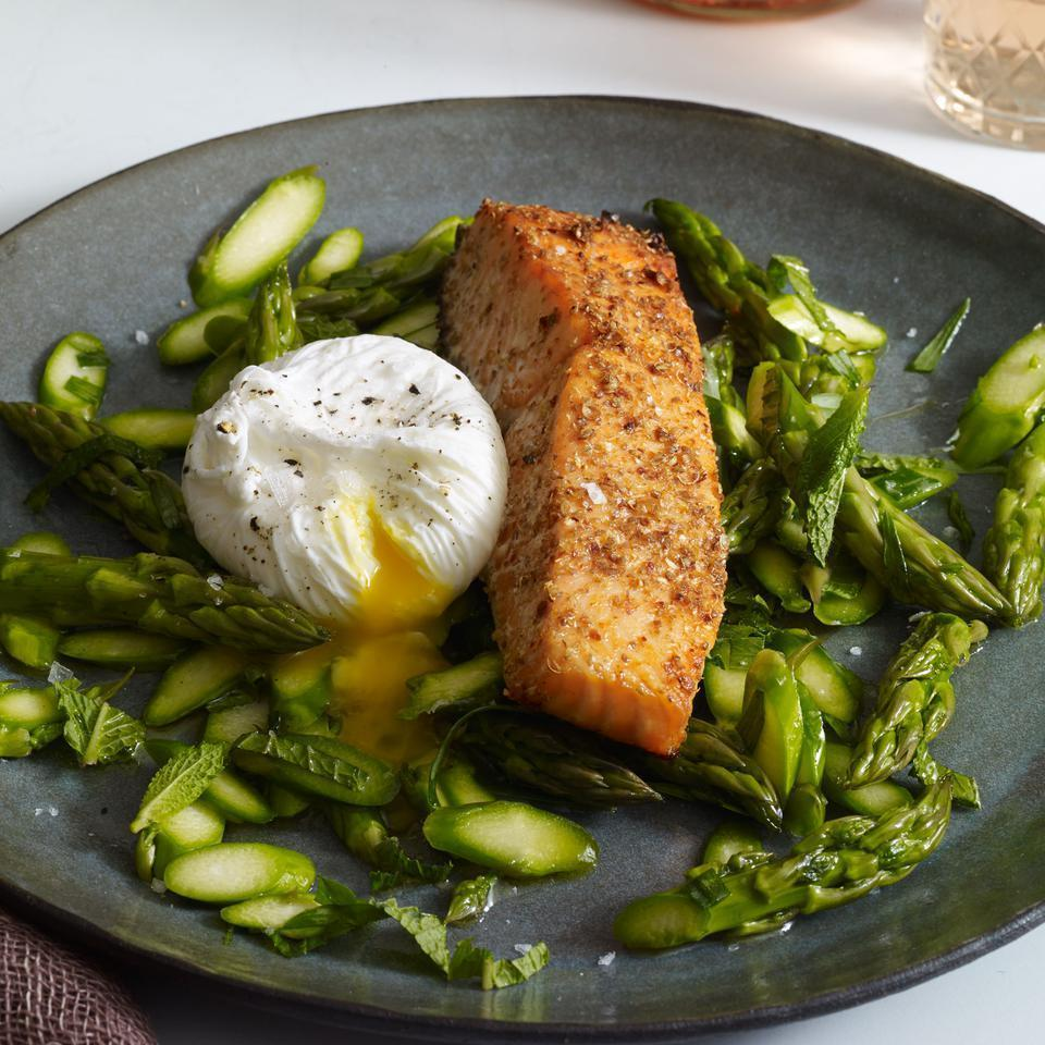 <p>Crushed coriander seeds and lemon zest give this quick salmon recipe praiseworthy flavor that pairs beautifully with a shaved asparagus and poached egg salad. Served with a glass of white wine, this healthy recipe makes the ultimate lunch or light dinner.</p>
