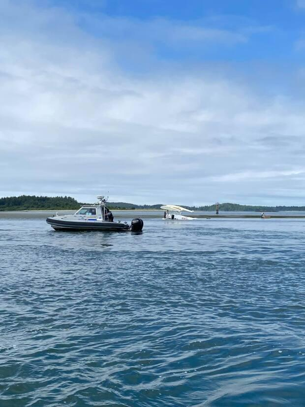An Atleo River Air float plane flipped during takeoff on Monday July 26, 2021. The five people on board were not seriously injured. (Lacey Adams/Facebook - image credit)