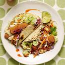 """<p>If battering and frying fish sounds messy, frozen fish sticks are your fish taco savior in this healthy dinner recipe. Use them for a quick, kid-friendly dinner or try popcorn shrimp. Serve with your favorite salsa and black beans on the side. <a href=""""http://www.eatingwell.com/recipe/255179/fish-tacos-with-avocado-lime-crema/"""" rel=""""nofollow noopener"""" target=""""_blank"""" data-ylk=""""slk:View recipe"""" class=""""link rapid-noclick-resp""""> View recipe </a></p>"""