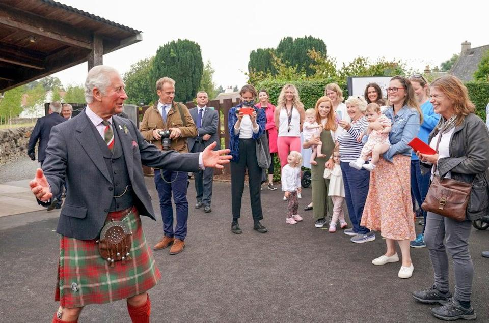 Charles meets members of the local community during a visit to Alloway (Jane Barlow/PA) (PA Wire)