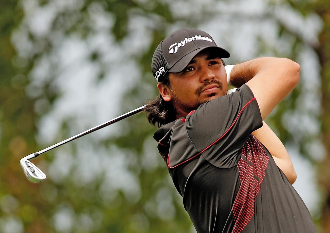 JERSEY CITY, NJ - AUGUST 22: Jason Day of Australia watches his tee shot on the 17th hole during the first round of The Barclays at Liberty National Golf Club on August 22, 2013 in Jersey City, New Jersey. (Photo by Darren Carroll/Getty Images)