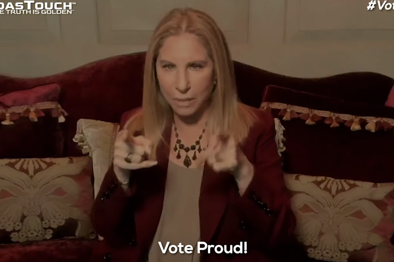 Barbra Streisand in a new political ad aiming to mobilise LGBTQ voters: YouTube/Meidas Touch