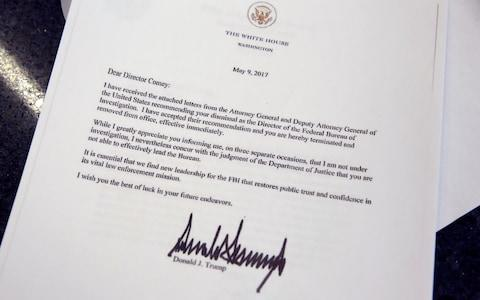 copy of the letter by U.S. President Donald Trump firing Director of the FBI James Comey - Credit: Reuters