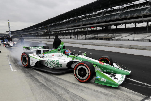 Colton Herta pulls out of the pits during practice for the Indy GP IndyCar auto race at Indianapolis Motor Speedway, Friday, May 10, 2019 in Indianapolis. (AP Photo/Darron Cummings)