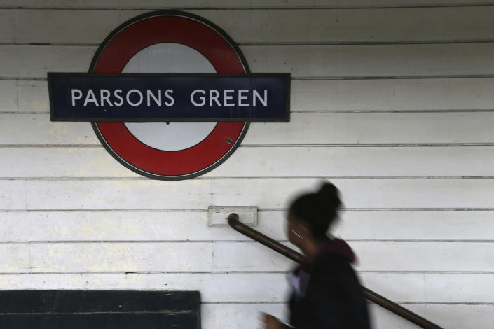 <p>A passenger walks onto the platform at Parsons Green subway station after it was reopened following a terrorist attack on a train at the station yesterday in London, Saturday, Sept. 16, 2017. (Photo: Tim Ireland/AP) </p>
