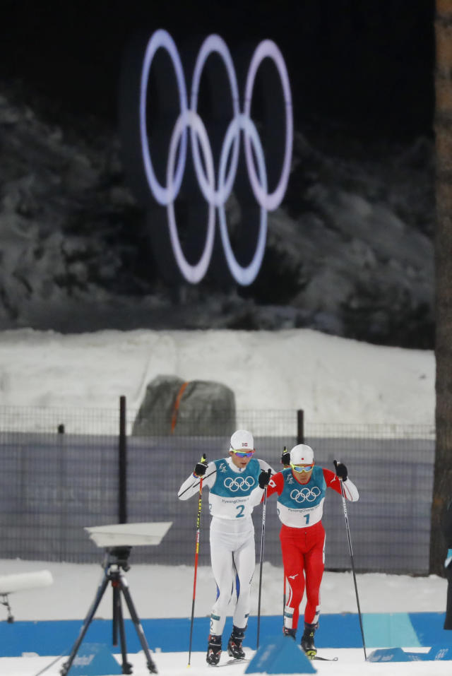 Nordic Combined Events - Pyeongchang 2018 Winter Olympics - Men's Individual 10 km Final - Alpensia Cross-Country Skiing Centre - Pyeongchang, South Korea - February 20, 2018 - Akito Watabe of Japan and Jarl Magnus Riiber of Norway in action. REUTERS/Kai Pfaffenbach