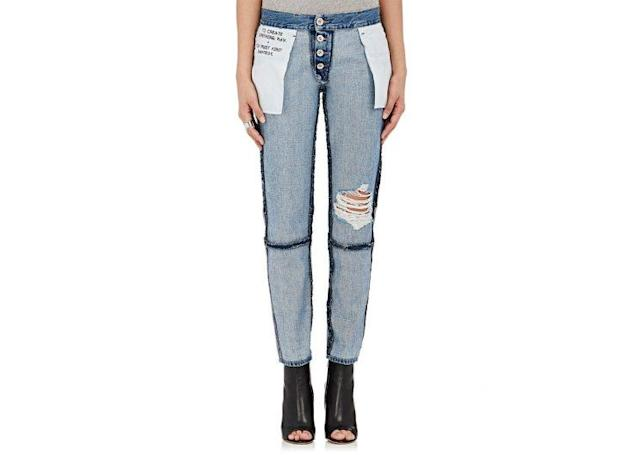 "Ben Taverniti Unravel Project Inside-Out Crop Jeans, $975, <a href=""http://www.barneys.com/product/ben-taverniti-unravel-project-inside-out-crop-jeans-505006939.html?utm_source=google&utm_medium=cpc&cmpntype=pla&campaignid=345495075&adgroupid=31880413875&campaign=[PLA]%20-%20Product%20Types%20-%20Tier%201&adgroup=Womens%20-%20Clothing%20-%20Denim&product_partition_id=348863199244&product_id=00505050069439&k_clickid=a864c8f5-f343-4c6c-a096-331c6eb69a7b&gclid=CMzKxL2EoNQCFZmKswodMpEBgw"" rel=""nofollow noopener"" target=""_blank"" data-ylk=""slk:Barneys.com"" class=""link rapid-noclick-resp"">Barneys.com</a>"