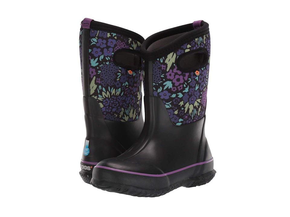 """<p><strong>Bogs Kids</strong></p><p>zappos.com</p><p><strong>$79.95</strong></p><p><a href=""""https://go.redirectingat.com?id=74968X1596630&url=https%3A%2F%2Fwww.zappos.com%2Fp%2Fbogs-kids-classic-big-nw-garden-toddler-little-kid-big-kid%2Fproduct%2F9236162&sref=https%3A%2F%2Fwww.countryliving.com%2Fgardening%2Fgarden-ideas%2Fg25300156%2Fbest-garden-shoes%2F"""" rel=""""nofollow noopener"""" target=""""_blank"""" data-ylk=""""slk:Shop Now"""" class=""""link rapid-noclick-resp"""">Shop Now</a></p><p>Let your little ones run around (we mean, """"help"""" in ) the garden. The easy pull-on handles means they can get their boots on and off by themselves.</p>"""