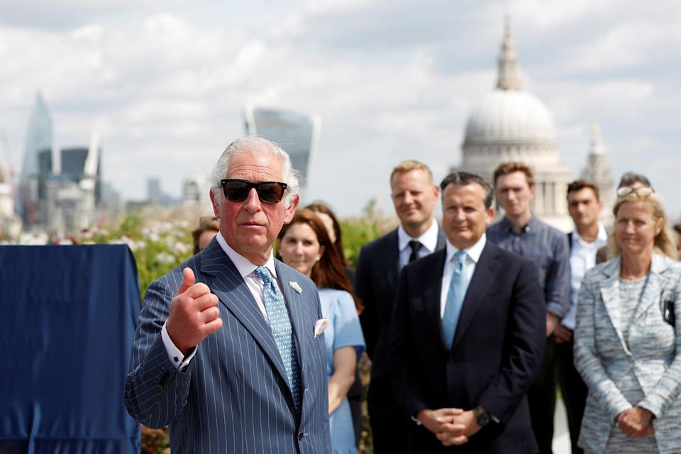 The Prince of Wales addresses traders and other staff during a visit to Goldman Sachs in central London (Peter Nicholls/PA) (PA Wire)