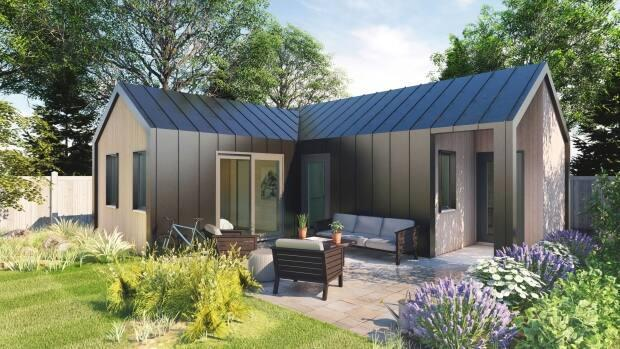 An artist's rendering shows what one of the Sprout Dwellings backyard suites could look like.