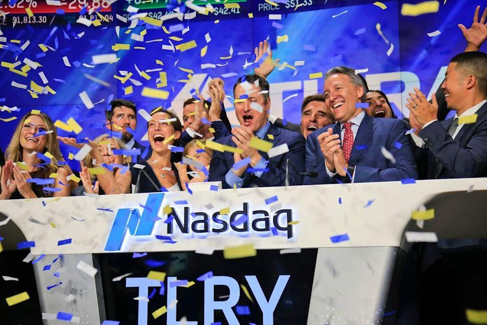 Brendan Kennedy and his family, center, ring the Nasdaq bell at Tilray's IPO in July 2018.
