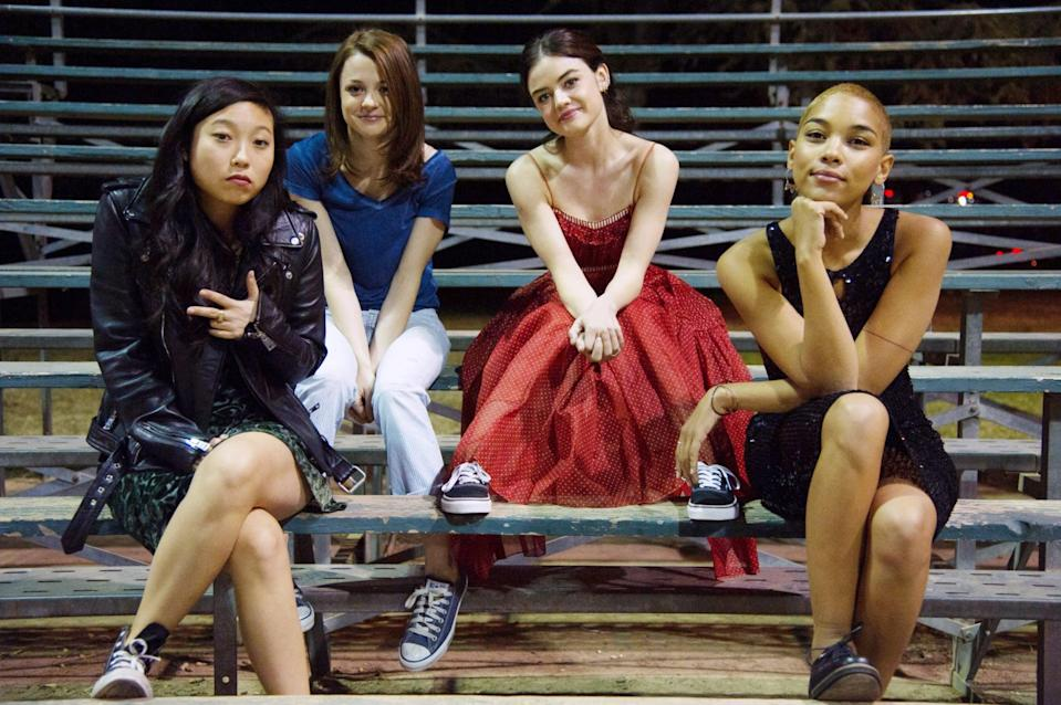 """<p>Who says only guys get stoner movies? <strong>Dude</strong> lets its four female leads get into just as much trouble as the boys in this coming-of-age tale starring Lucy Hale and Awkwafina. Set against the backdrop of the final two weeks of high school, four friends contemplate (and try to avoid contemplating) what comes next. </p> <p>Watch <a href=""""https://www.netflix.com/title/80192186"""" class=""""link rapid-noclick-resp"""" rel=""""nofollow noopener"""" target=""""_blank"""" data-ylk=""""slk:Dude""""><strong>Dude</strong></a> on Netflix now.</p>"""