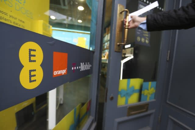 EE Mobile Phones Stores As Operators Orange SA and Deutsche Telekom AG Confirm Sale Talks With BT Group Plc