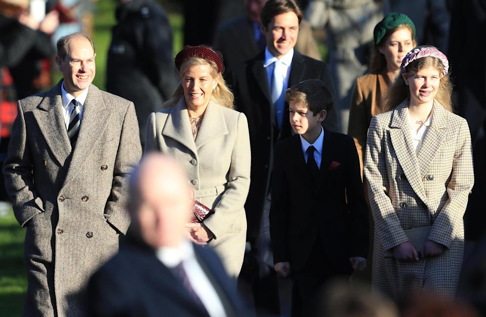 KING'S LYNN, ENGLAND - DECEMBER 25: Prince Edward, Earl of Wessex, Sophie, Countess of Wessex, Lady Louise Windsor and James, Viscount Severn attend the Christmas Day Church service at Church of St Mary Magdalene on the Sandringham estate on December 25, 2019 in King's Lynn, United Kingdom. (Photo by Stephen Pond/Getty Images)