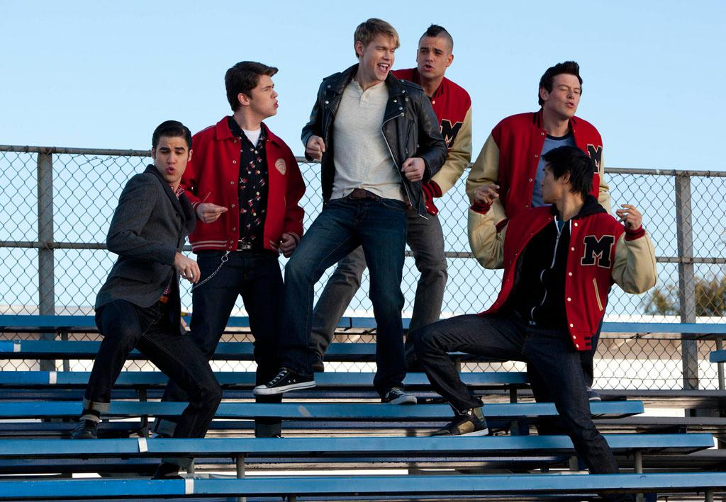 "Sam (Chord Overstreet) performs with the guys in the ""Yes/No"" winter premiere episode of ""Glee."""