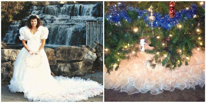 Woman Turns Her 1980s Wedding Dress Into a Fluffy Christmas Tree Skirt