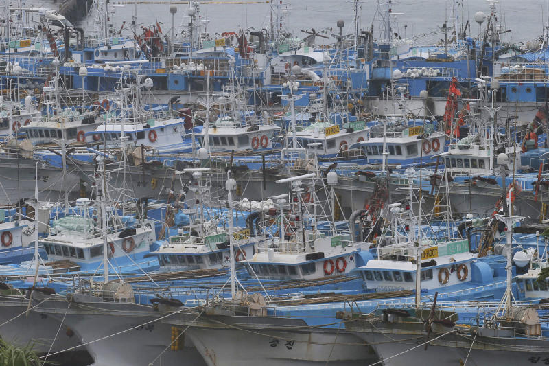 Fishing boats are anchored in port as Typhoon Lingling approaches to Korean peninsular on Jeju Island, South Korea, Friday, Sept. 6, 2019. (Byun Ji-chul/Yonhap via AP)