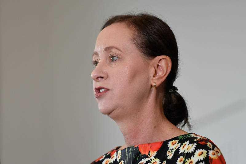 Queensland Health Minister Yvette D'Ath addresses the media during a press conference.