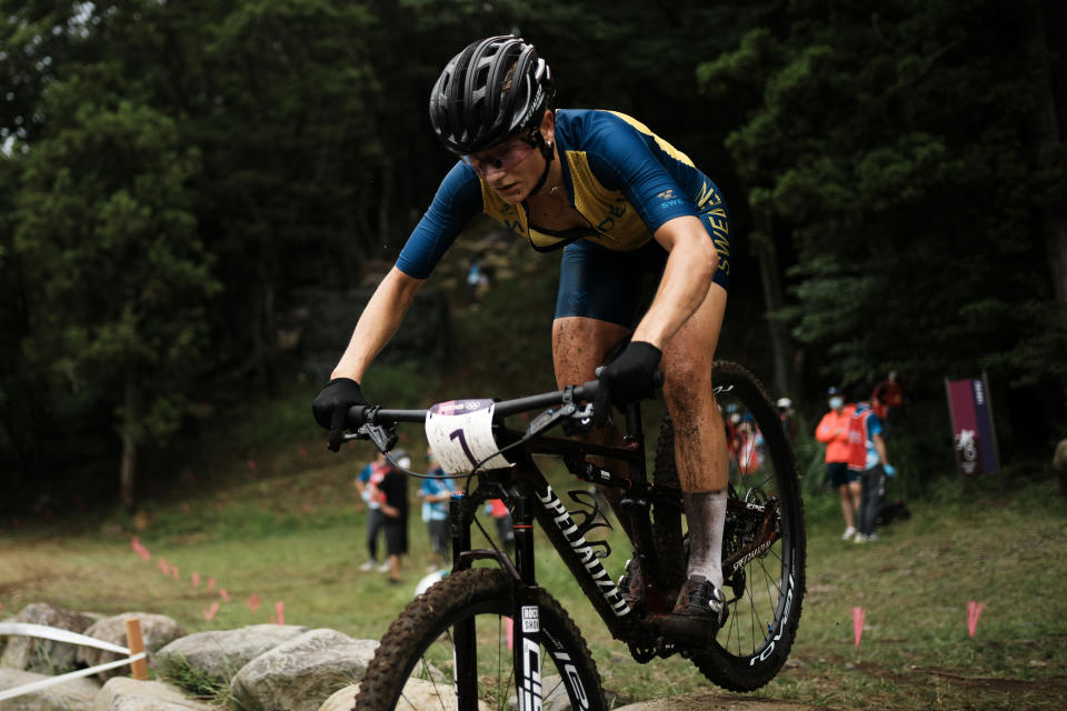 Jenny Rissveds of Sweden competes during the women's cross-country mountain bike competition at the 2020 Summer Olympics, Tuesday, July 27, 2021, in Izu, Japan. (AP Photo/Thibault Camus)