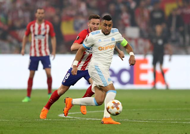 Soccer Football - Europa League Final - Olympique de Marseille vs Atletico Madrid - Groupama Stadium, Lyon, France - May 16, 2018 Marseille's Dimitri Payet in action with Atletico Madrid's Saul Niguez REUTERS/Peter Cziborra