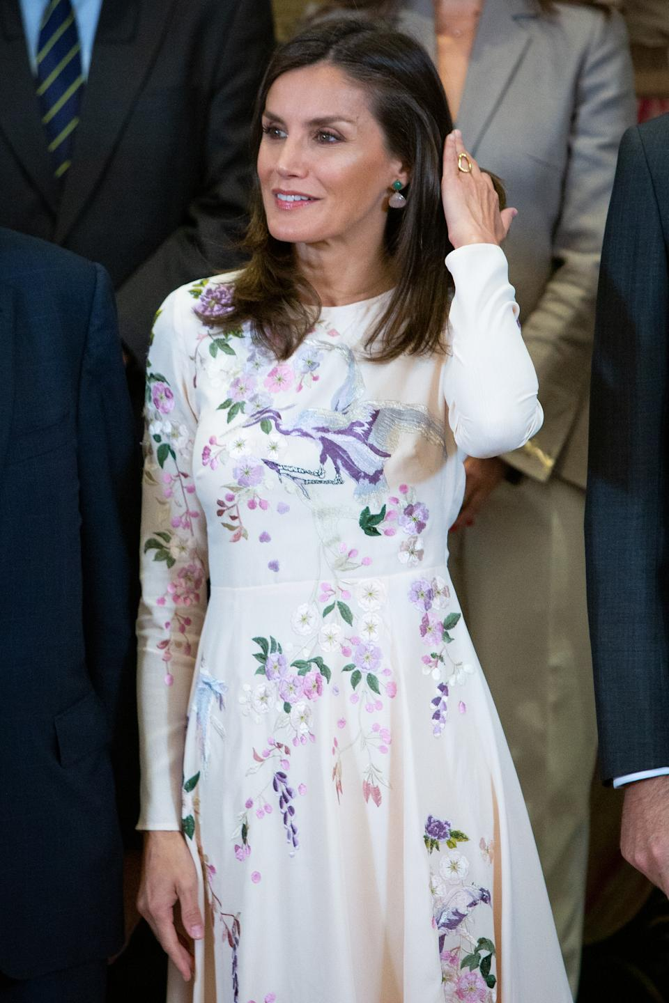 MADRID, SPAIN - JULY 08: Queen Letizia of Spain attends several audiences at Zarzuela Palace on July 08, 2019 in Madrid, Spain. (Photo by Pablo Cuadra/Getty Images)