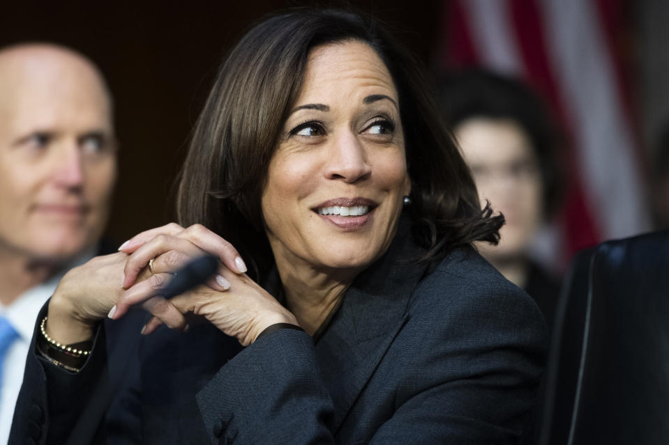 UNITED STATES - NOVEMBER 05: Sen. Kamala Harris, D-Calif., and Rick Scott, R-Fla., attend the Senate Homeland Security and Governmental Affairs Committee hearing titled Threats to the Homeland, in Hart Building on Tuesday, November 5, 2019. David J. Glawe, under secretary at the Department of Homeland Security, FBI Director Christopher Wray, and Russell Travers, acting director of the National Counterterrorism Center, testified. (Photo By Tom Williams/CQ-Roll Call, Inc via Getty Images)