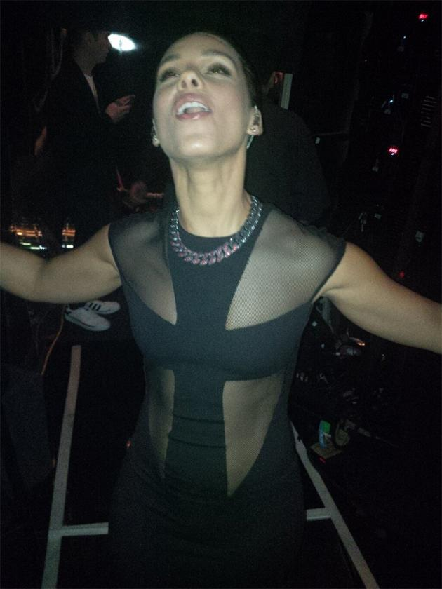 "Backstage at the Grammys 2013: Alicia Keys tweeted this photo of herself straight after coming off stage. She tweeted it with the caption: ""Just got off stage! SO blessed have to have performed in this room! I remember the first time! ;-)"" Copyright [Alicia Keys]"