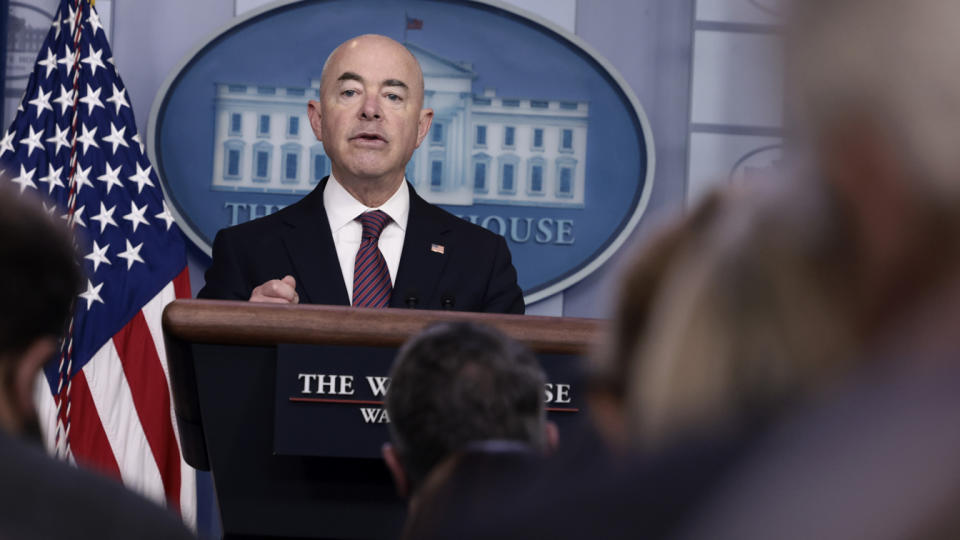 U.S. Homeland Security Secretary Alejandro Mayorkas speaks at a press briefing at the White House on September 24, 2021 in Washington, DC. Mayorkas announced that the influx of Haitian immigrants camped under the bridge in Del Rio, Texas had been cleared. (Anna Moneymaker/Getty Images)