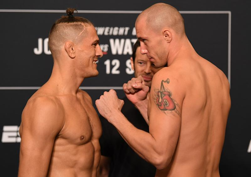 TAMPA, FLORIDA - OCTOBER 11: (L-R) Opponents Niko Price and James Vick face off during the UFC Fight Night weigh-in at the Westin Tampa Waterside on October 11, 2019 in Tampa, Florida. (Photo by Josh Hedges/Zuffa LLC/Zuffa LLC)