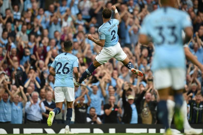 Jumping for joy: Kyle Walker score a stunning second goal for Manchester City
