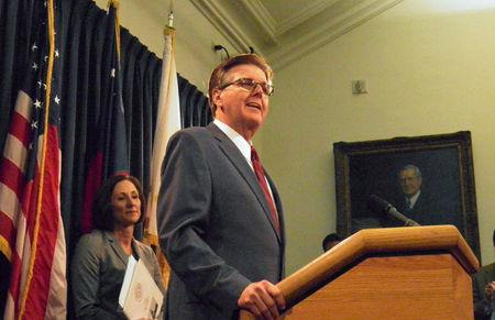 FILE PHOTO -  Texas Lieutenant Governor Dan Patrick speaks at a news conference on the introduction of a bill that would limit access to bathrooms and other facilities for transgender people at the State Capitol in Austin, Texas, U.S., January 5, 2017.   REUTERS/Jon Herskovitz/File Photo