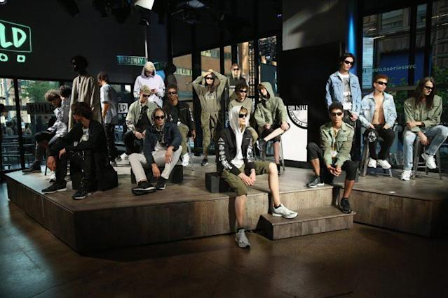 Models at the Steve Aoki and Build Series Dim Mak Collection runway show. (Photo by JP Yim/Getty Images for Build Series)