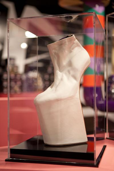 A shoe is displayed at Gaga's Workshop, a collaborative fashion and lifestyle project between Lady Gaga and Barney's New York, at the Barney's store on East 60th Street in New York on Monday, Nov. 21, 2011. (AP Photo/Andrew Burton)