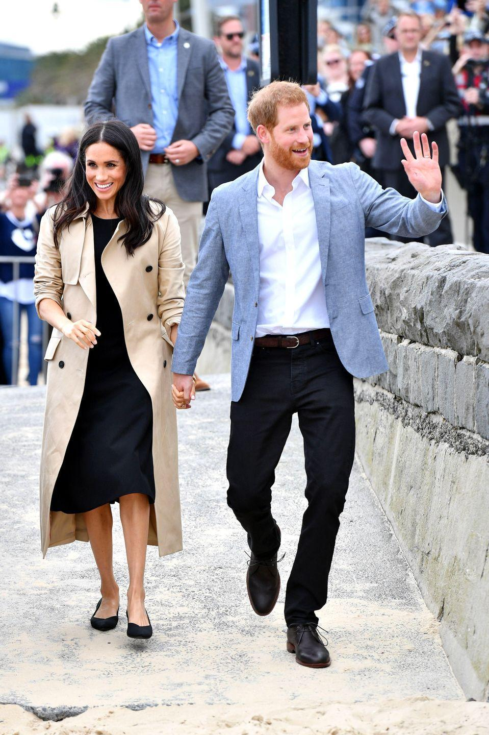 """<p>Harry and Meghan <a href=""""https://www.townandcountrymag.com/society/tradition/g23871878/meghan-markle-prince-harry-royal-tour-melbourne-australia-day-3-photos/"""" rel=""""nofollow noopener"""" target=""""_blank"""" data-ylk=""""slk:later visited a beach"""" class=""""link rapid-noclick-resp"""">later visited a beach</a> in Melbourne, where they each changed into <a href=""""https://www.townandcountrymag.com/style/fashion-trends/a23890910/meghan-markle-club-monaco-dress-melbourne-australia-royal-tour-photos/"""" rel=""""nofollow noopener"""" target=""""_blank"""" data-ylk=""""slk:more casual outfits"""" class=""""link rapid-noclick-resp"""">more casual outfits</a>. For this event, the Duchess wore<a href=""""https://go.redirectingat.com?id=74968X1596630&url=http%3A%2F%2Fwww.clubmonaco.com%2Fproduct%2Findex.jsp%3FproductId%3D157223966%26size%3D10%252C4%252C8%252C00%252C6%252C2%252C12%252C0%26color%3D1174801&sref=https%3A%2F%2Fwww.townandcountrymag.com%2Fstyle%2Ffashion-trends%2Fg3272%2Fmeghan-markle-preppy-style%2F"""" rel=""""nofollow noopener"""" target=""""_blank"""" data-ylk=""""slk:a sleek black dress"""" class=""""link rapid-noclick-resp""""> a sleek black dress</a> by Club Monaco with a pair of pointed toe flats by Rothy's.<br></p><p><a class=""""link rapid-noclick-resp"""" href=""""https://go.redirectingat.com?id=74968X1596630&url=http%3A%2F%2Fwww.clubmonaco.com%2Fproduct%2Findex.jsp%3FproductId%3D157223966&sref=https%3A%2F%2Fwww.townandcountrymag.com%2Fstyle%2Ffashion-trends%2Fg3272%2Fmeghan-markle-preppy-style%2F"""" rel=""""nofollow noopener"""" target=""""_blank"""" data-ylk=""""slk:SHOP NOW"""">SHOP NOW</a> <em>Miguellina Dress by <em>Club Monaco</em>, $268</em></p><p><a class=""""link rapid-noclick-resp"""" href=""""https://go.redirectingat.com?id=74968X1596630&url=https%3A%2F%2Frothys.com%2Fproducts%2Fthe-point-black-solid%3FsiteID%3DTnL5HPStwNw-SRqL_yTmfs9XjHG3noa4Zg&sref=https%3A%2F%2Fwww.townandcountrymag.com%2Fstyle%2Ffashion-trends%2Fg3272%2Fmeghan-markle-preppy-style%2F"""" rel=""""nofollow noopener"""" target=""""_blank"""" data-ylk=""""slk:SHOP NOW"""">SHOP NOW </a><em>Black Solid Flat"""