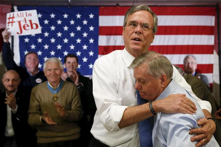 <p>Republican presidential candidate former Gov. Jeb Bush embraces Sen. Lindsey Graham after Graham introduced Bush at a town hall campaign stop at Woodbury School in Salem, N.H., on Feb. 7, 2016. <i>(Photo: Adrees Latif/Reuters)</i></p>