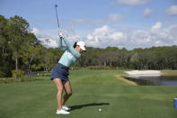Danielle Kang winds up to hit her tee shot on the fifth hole during the final round of the Tournament of Champions LPGA golf tournament, Sunday, Jan. 24, 2021, in Lake Buena Vista, Fla. (AP Photo/Phelan M. Ebenhack)