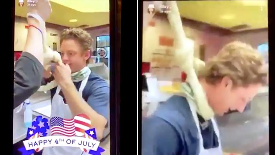 Staff from a Jimmy John's sandwich bar in Georgia make a noose out of dough and mock hanging a person.