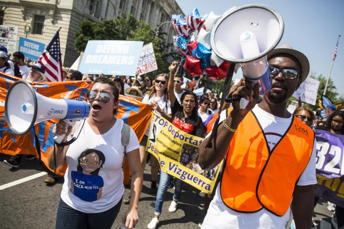 Demonstrators march in response to the Trump administration's announcement that it would end the Deferred Action for Childhood Arrivals (DACA) program. (Photo: Zach Gibson/Getty Images)