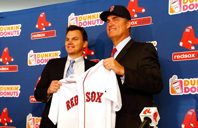 BOSTON, MA - OCTOBER 23: Executive Vice President and General Manager of the Boston Red Sox, Ben Cherington (L), introduces John Farrell as the new manager, the 46th manager in the club's 112-year history, on October 23, 2012 at Fenway Park in Boston, Massachusetts. (Photo by Jared Wickerham/Getty Images)
