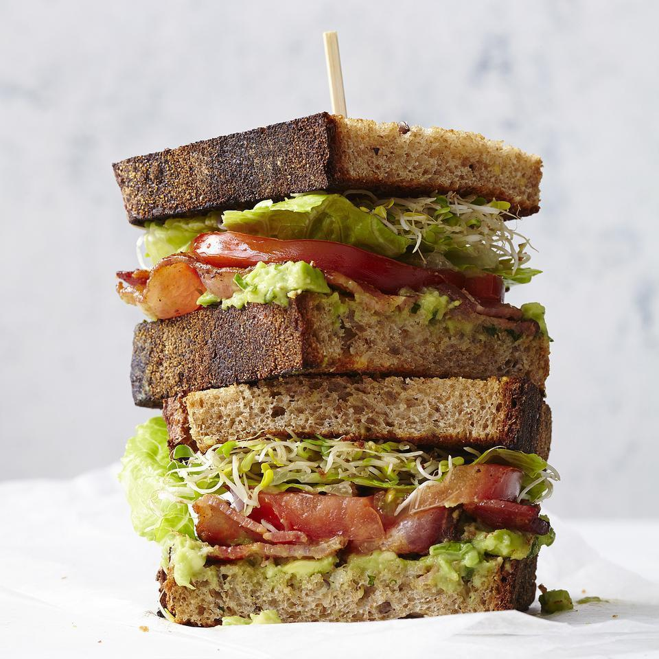 <p>In this healthy BLT recipe, we use a creamy avocado spread flavored with garlic and basil, and add sprouts. Look for sprouted-wheat bread in the frozen section or with other specialty breads at your grocery store.</p>