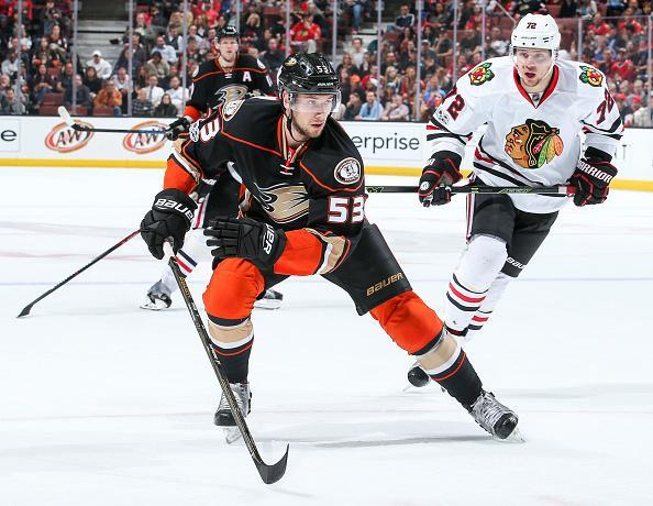 """Shea Theodore of the <a class=""""link rapid-noclick-resp"""" href=""""/nhl/teams/ana/"""" data-ylk=""""slk:Anaheim Ducks"""">Anaheim Ducks</a> skates pursued by <a class=""""link rapid-noclick-resp"""" href=""""/nhl/players/6728/"""" data-ylk=""""slk:Artemi Panarin"""">Artemi Panarin</a> #72 of the <a class=""""link rapid-noclick-resp"""" href=""""/nhl/teams/chi/"""" data-ylk=""""slk:Chicago Blackhawks"""">Chicago Blackhawks</a> during the second period of the game at Honda Center on April 6, 2017 in Anaheim, California. (Getty Images)"""