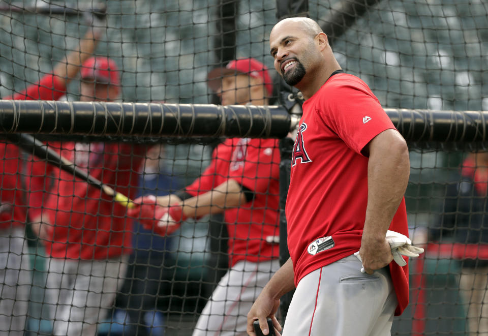 """Albert Pujols sat down with Tim Brown for a rare, extended interview in the debut episode of the """"Yahoo Sports MLB Podcast."""" (AP)"""