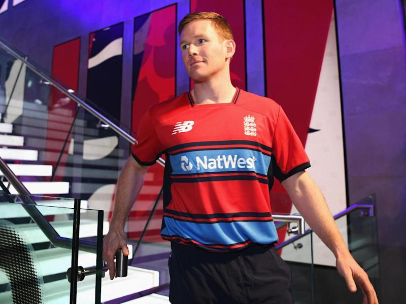 ODI and T20 captain Eoin Morgan was also in London modelling England's new T20 kit (Getty)