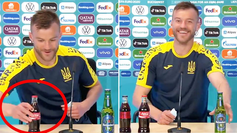 Andriy Yarlomenko (pictured left) moving a Coca-Cola bottle into shot and (pictured right) making a joke during the press conference.