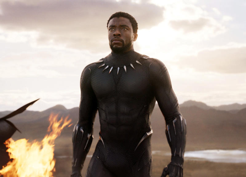 "<p> This image released by Disney and Marvel Studios' shows Chadwick Boseman in a scene from ""Black Panther."" (Marvel Studios/Disney via AP)"