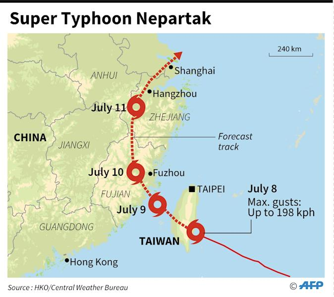 The expected path of Super Typhoon Nepartak (AFP Photo/-)